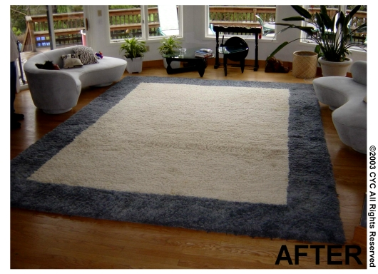 First With Our Special Dyeing Techniques And Proprietary Dyes We Were Able To Whiten The Rug Eliminating All Discoloration Next Objective Was