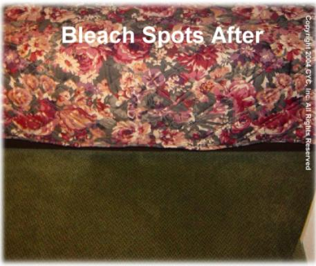 CARPET DYEING EXAMPLES- Bleach Stains on Light Solid Color Carpet: This set of samples demonstrates that Color Your Carpet® can repair color on very light ...